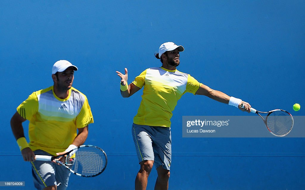 Fernando Verdasco of Spain plays a forehand in his second round doubles match with David Marrero of Spain against Tomasz Bednarek and Jerzy Janowicz of Poland during day six of the 2013 Australian Open at Melbourne Park on January 19, 2013 in Melbourne, Australia.