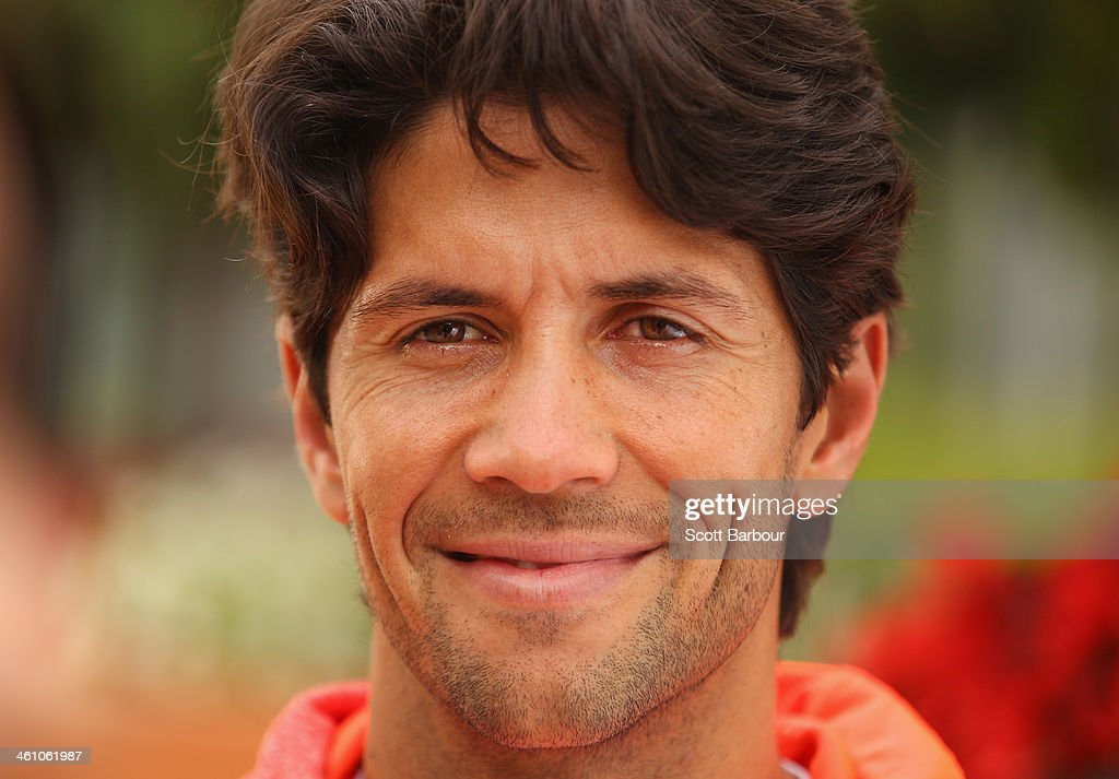 <a gi-track='captionPersonalityLinkClicked' href=/galleries/search?phrase=Fernando+Verdasco&family=editorial&specificpeople=213930 ng-click='$event.stopPropagation()'>Fernando Verdasco</a> of Spain poses during a press conference ahead of the AAMI Classic at Kooyong on January 7, 2014 in Melbourne, Australia.