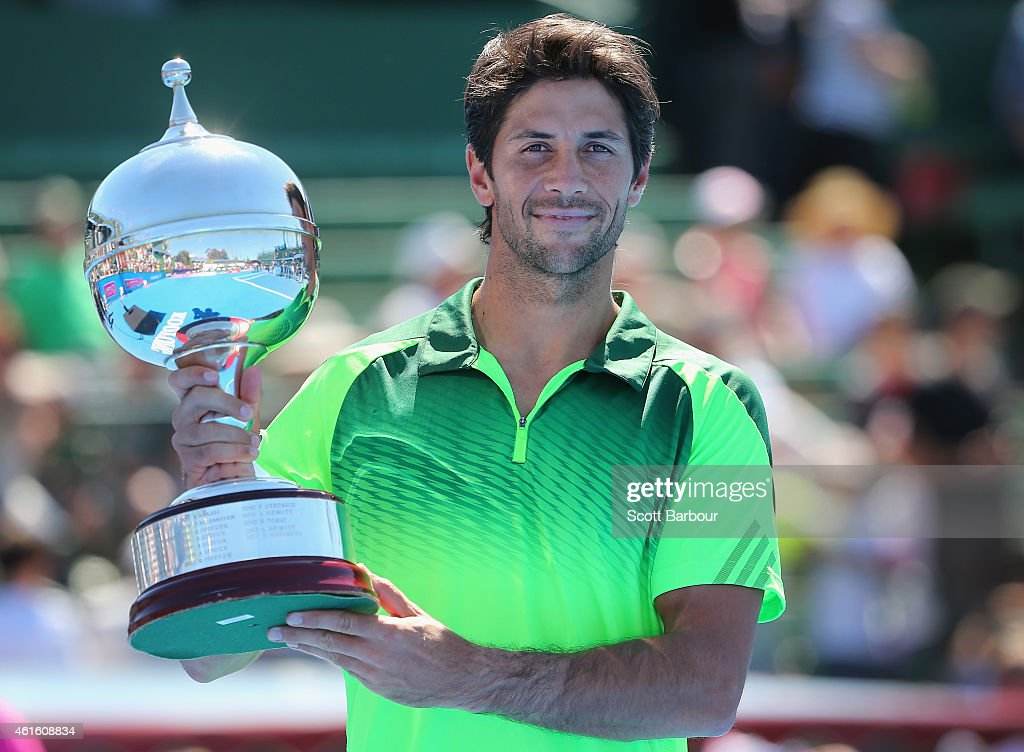 Fernando Verdasco of Spain poses with the trophy after defeating Alexandr Dolgopolov of Ukraine in the Championship Match to win the tournament during day four of the Priceline Pharmacy Classic at Kooyong on January 16, 2015 in Melbourne, Australia.