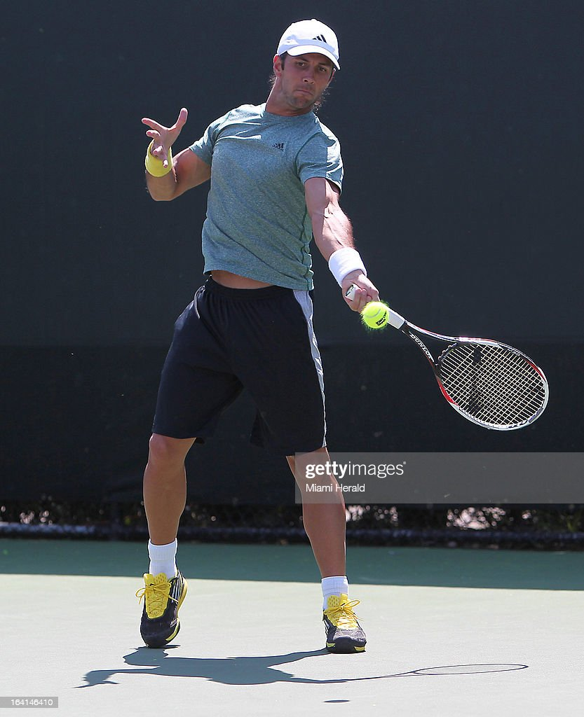 Fernando Verdasco of Spain practices on Day 3 of the Sony Open tennis tournament in Key Biscayne, Florida on Wednesday, March 20, 2013.