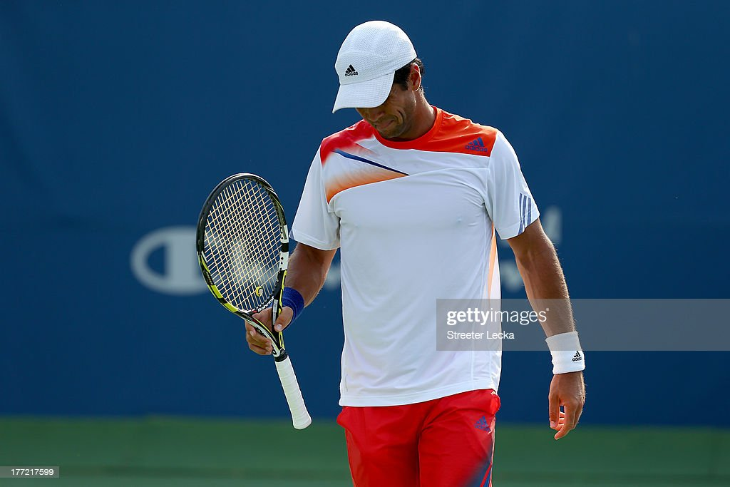 Fernando Verdasco of Spain reacts after a point against Gael Monfils of France in the quarterfinals match during day 5 of the Winston-Salem Open at Wake Forest University on August 22, 2013 in Winston Salem, North Carolina.