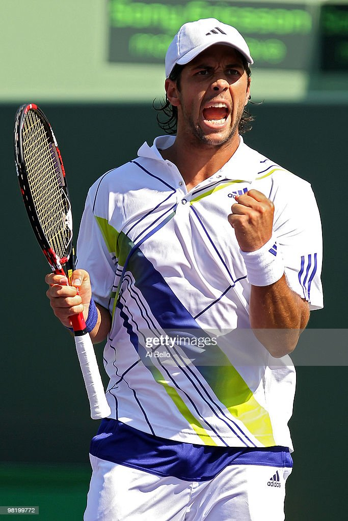 <a gi-track='captionPersonalityLinkClicked' href=/galleries/search?phrase=Fernando+Verdasco&family=editorial&specificpeople=213930 ng-click='$event.stopPropagation()'>Fernando Verdasco</a> of Spain reacts after a point against Tomas Berdych of the Czech Republic during day ten of the 2010 Sony Ericsson Open at Crandon Park Tennis Center on April 1, 2010 in Key Biscayne, Florida.