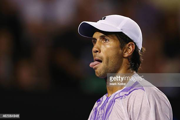 Fernando Verdasco of Spain reacts after losing a point in his third round match against Novak Djokovic of Serbia during day six of the 2015...