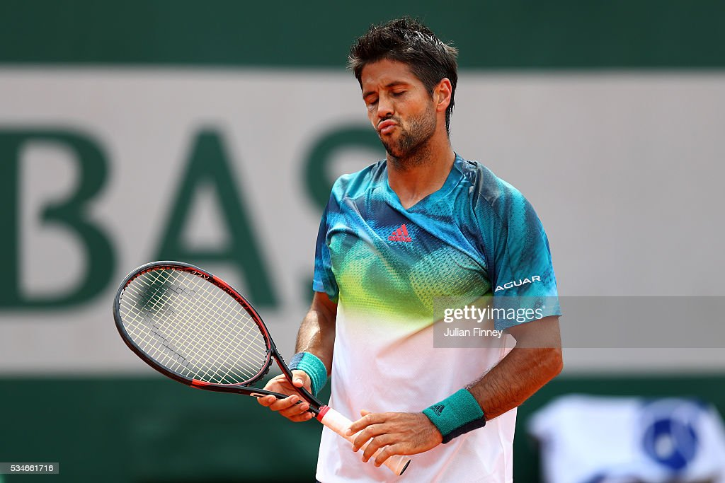 <a gi-track='captionPersonalityLinkClicked' href=/galleries/search?phrase=Fernando+Verdasco&family=editorial&specificpeople=213930 ng-click='$event.stopPropagation()'>Fernando Verdasco</a> of Spain reacts during the Men's Singles third round match against Kei Nishikori of Japan on day six of the 2016 French Open at Roland Garros on May 27, 2016 in Paris, France.