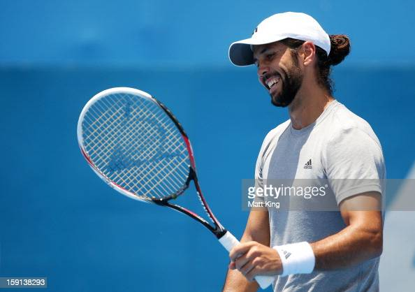 Fernando Verdasco of Spain reacts in his second round match against Denis Istomin of Uzbekistan during day four of the Sydney International at Sydney...