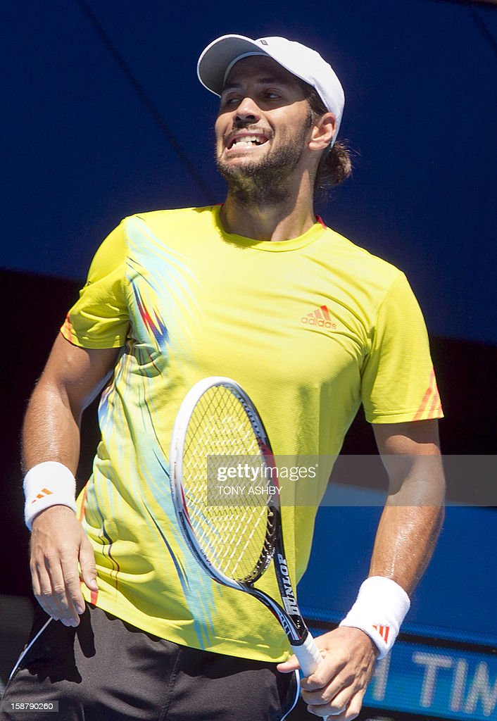 Fernando Verdasco of Spain reacts while playing against Kevin Anderson of South Africa during their first session men's singles match on day one of the Hopman Cup tennis tournament in Perth on December 29, 2012. AFP PHOTO/Tony ASHBY USE