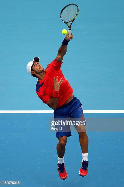 Fernando Verdasco of Spain returns a shot during his men's singles match against Novak Djokovic of Serbia on day six of the 2013 China Open at the...