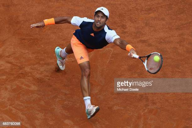 Fernando Verdasco of Spain stretches for a return during his second round match against David Goffin of Belgium on Day Three of The Internazionali...