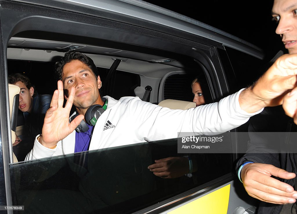 <a gi-track='captionPersonalityLinkClicked' href=/galleries/search?phrase=Fernando+Verdasco&family=editorial&specificpeople=213930 ng-click='$event.stopPropagation()'>Fernando Verdasco</a> sighting leaving Wimbledon on July 3, 2013 in London, England.