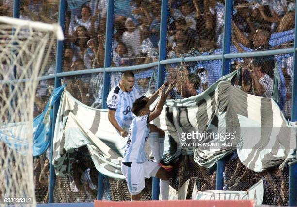 Fernando Zampedri of Argentinian Atletico Tucuman celebrates his goal against Ecuadorean El Nacional during a Copa Libertadores football match in San...