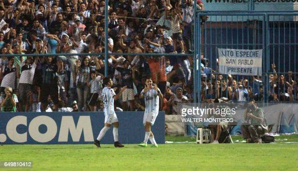Fernando Zampedri of Atletico Tucuman celebrates the first goal scored against Brazil's Palmeiras during their Copa Libertadores football match in...