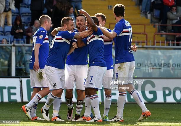 Fernardo of UC Sampdoria celebrate after scoring the second goal with team mates during the Serie A match between UC Sampdoria and Udinese Calcio at...