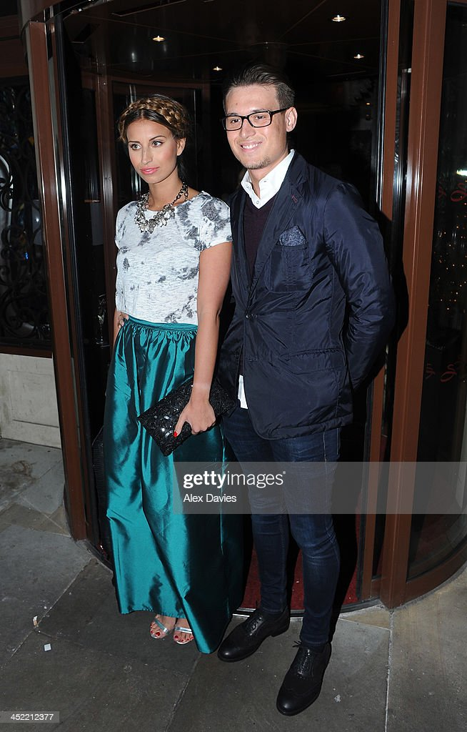 Ferne McCann and Charlie Sims attend the Now magazine Christmas party on November 26, 2013 in London, England.