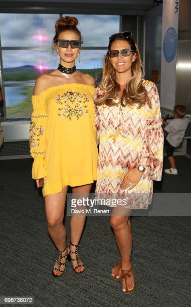 Ferne McCann and Danielle Lloyd attend the official launch of Dinosaurs in the Wild a new immersive experience at NEC Arena on June 20 2017 in...