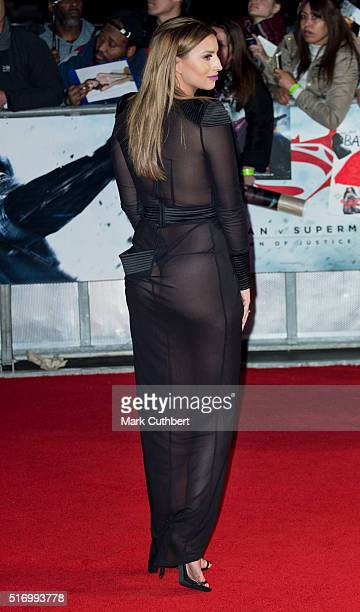 Ferne McCann arrives for the European Premiere of 'Batman V Superman Dawn Of Justice' at Odeon Leicester Square on March 22 2016 in London England