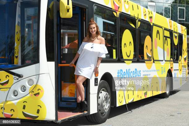 Ferne McCann attends the launch of the UK's first and only antibullying #BeNiceBus with The Diana Award and Stagecoach at Kingsdale Foundation School...