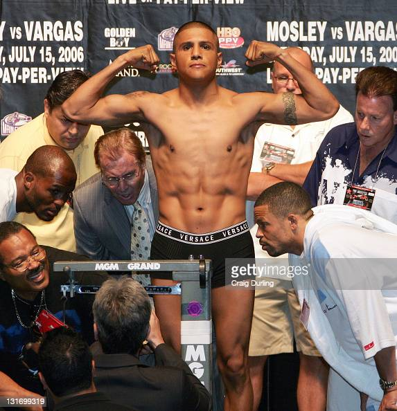 Ferocious Fernando Vargas weighs in at 154 pounds the day before he and 'Sugar' Shane Mosley will once again meet to settle the score in this Junior...