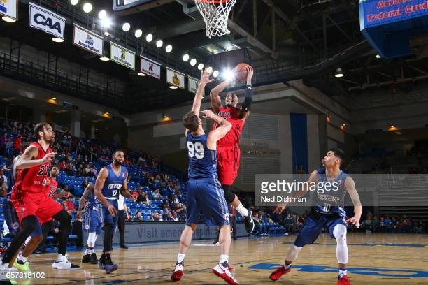 Ferrakohn Hall of the Windy City Bulls against Tiago Splitter of the Delaware 87ers during the game on March 25 2017 at Bob Carpenter Center in...