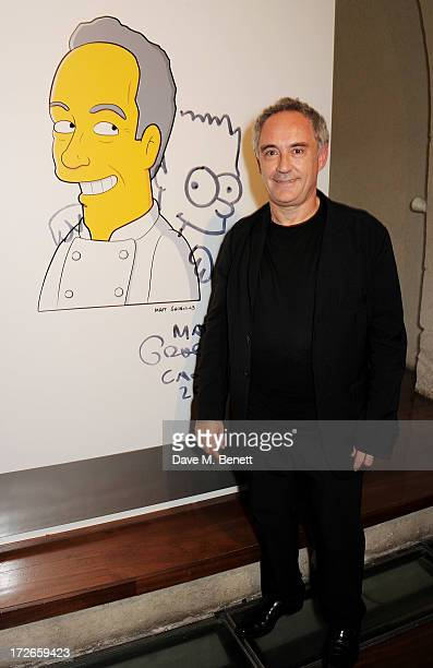 Ferran Adria attends the private view of 'elBulli Ferran Adria and The Art of Food' at Somerset House on July 4 2013 in London England The exhibition...