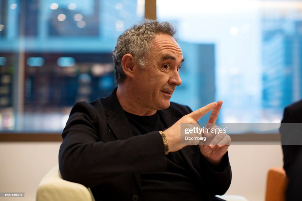 Ferran Adria, chef of the former El Bulli restaurant, gestures as he speaks during an interview in Hong Kong, China, on Monday, April 1, 2013. Fans who mourned the closing of El Bulli in 2011 will get a chance to buy a piece of its history at a Sotheby's auction in Hong Kong today. Photographer: Jerome Favre/Bloomberg via Getty Images