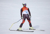 Ferran Terra of Spain finishes a run during the Alpine Men's Downhill on day two of the Sochi 2014 Winter Olympics at Rosa Khutor Alpine Center on...