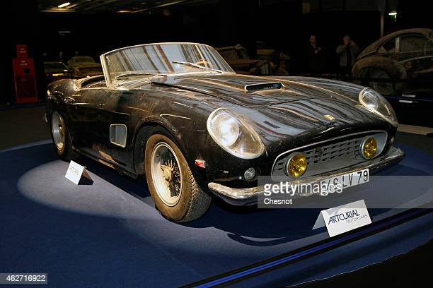Ferrari 250 GT California SWB spyder is displayed for auction during the Retromobile show on February 03 in Paris France This car had belonged to the...