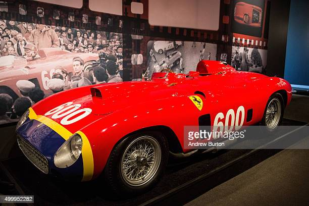 Ferrari 290 MM by Scaglietti sits on display at Sotheby's during a press preview before the 'Driven by Disruption' auction on December 4 2015 in New...