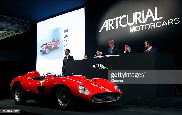 Ferrari 335 S Spider Scaglietti model from the Pierre Bardinon collection is displayed during the auction at Retromobile show by the Artcurial...