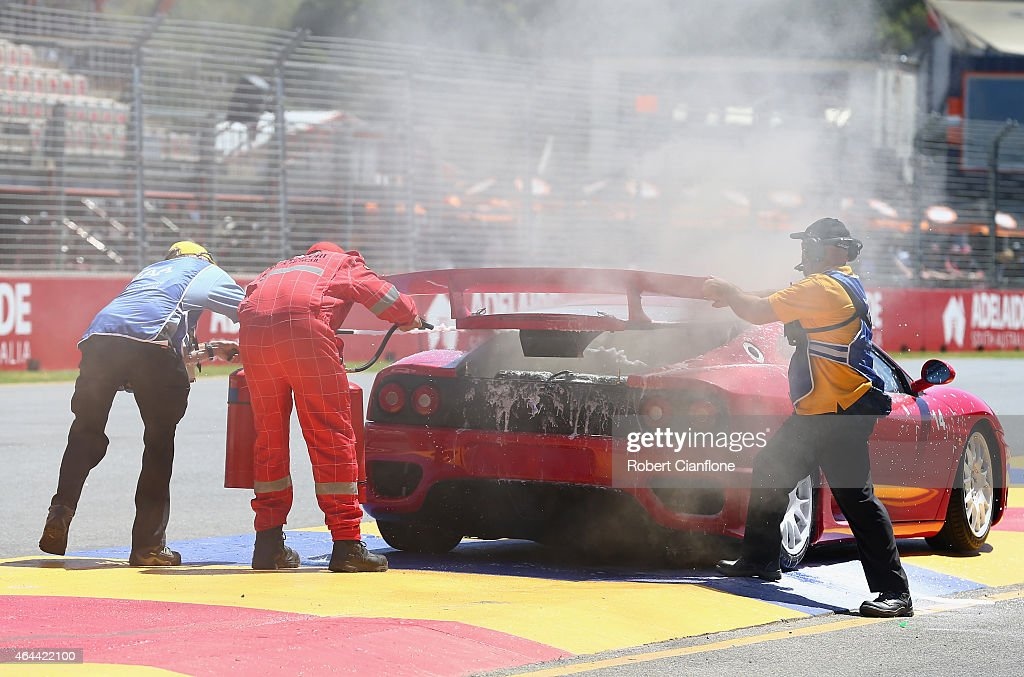 A Ferrari 360 catches fire during a parade lap ahead of the V8 Supercars Clipsal 500 at Adelaide Street Circuit on February 26, 2015 in Adelaide, Australia.