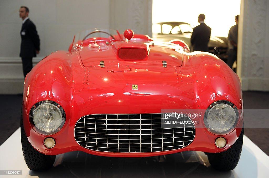 A Ferrari 375 Plus of 1954 is shown on April 27 2011 at the Musee des Arts Decoratifs museum in Paris during the 'L'art de l'Automobile' exhibition...