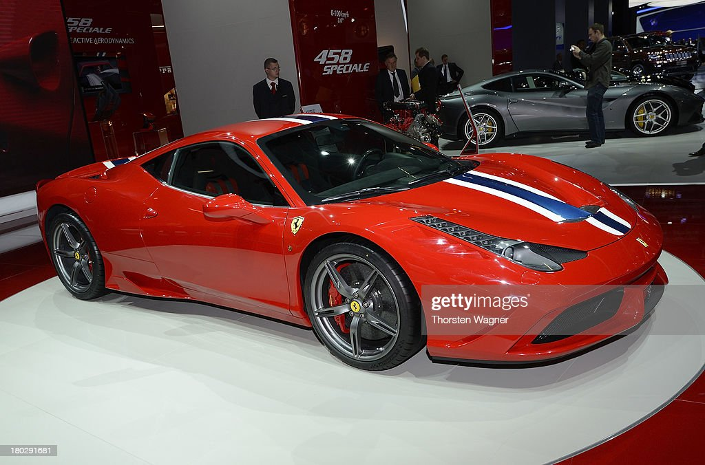 Ferrari 458 Italia is during the press day at the international motor show IAA (Internationale Automobil-Ausstellung) on September 11, 2013 in Frankfurt am Main, Germany. The world's biggest motor show, the IAA, is running from September 12 to 22, 2013