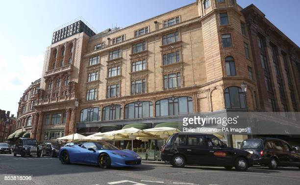 A Ferrari 458 outside Harrods in Knightsbridge in London as August sees hundreds of superrich Middle Easterners flying in from countries such as...