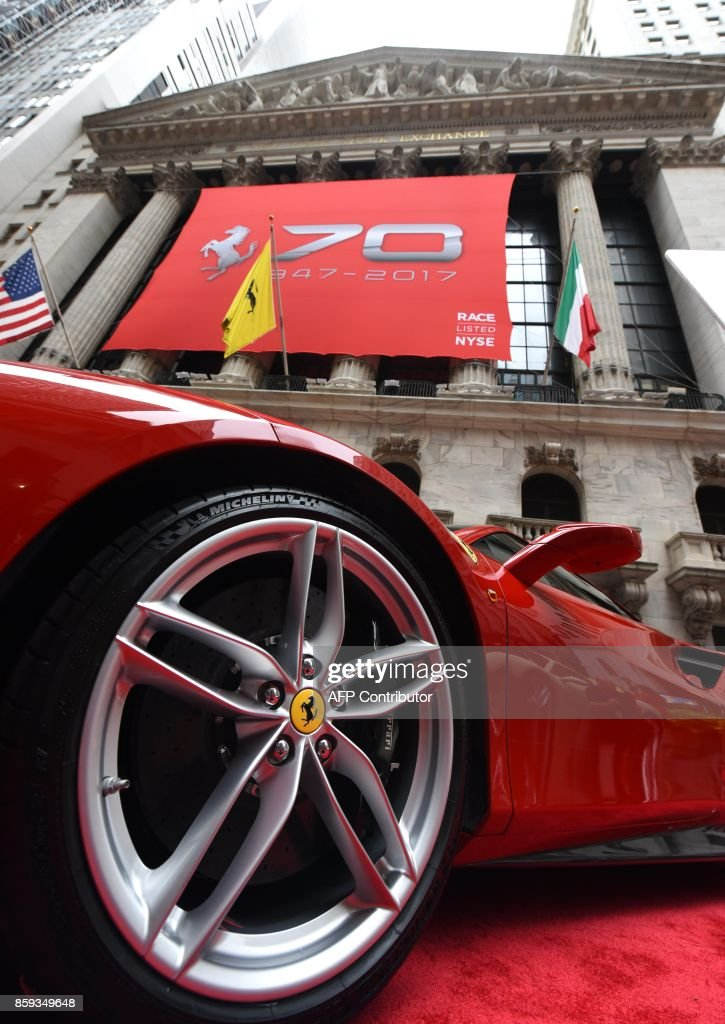 A Ferrari 488 GTB in front of the NYSE after Ferrari N.V. led by Chairman Sergio Marchionne and members of the companys leadership team ring the opening bell at the New York Stock Exchange October 9, 2017 to commemorate the companys 70th anniversary. /