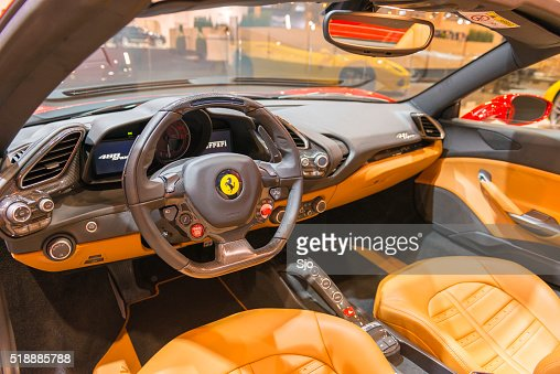ferrari 488 spider sports car interior stock photo getty images. Black Bedroom Furniture Sets. Home Design Ideas