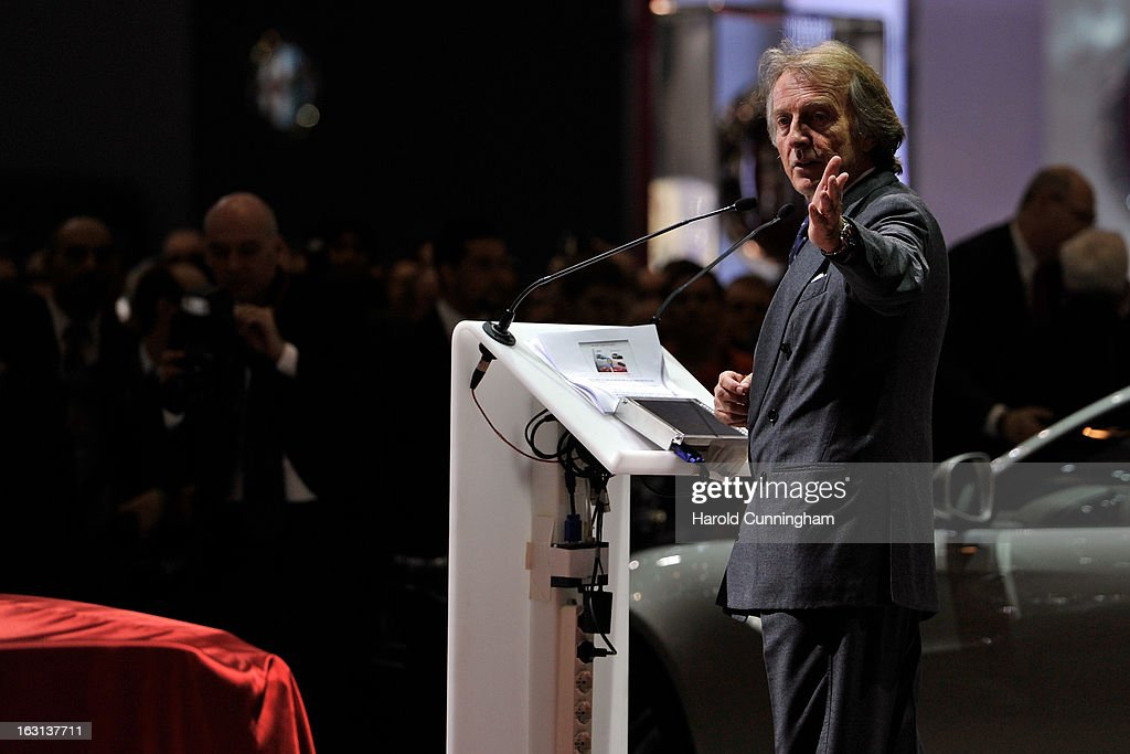 Ferrari Chairman Luca Cordero di Montezemolo delivers a speech during the 83rd Geneva Motor Show on March 5, 2013 in Geneva, Switzerland. Held annually the Geneva Motor Show is one of the world's five most important auto shows with this year's event due to unveil more than 130 new products.