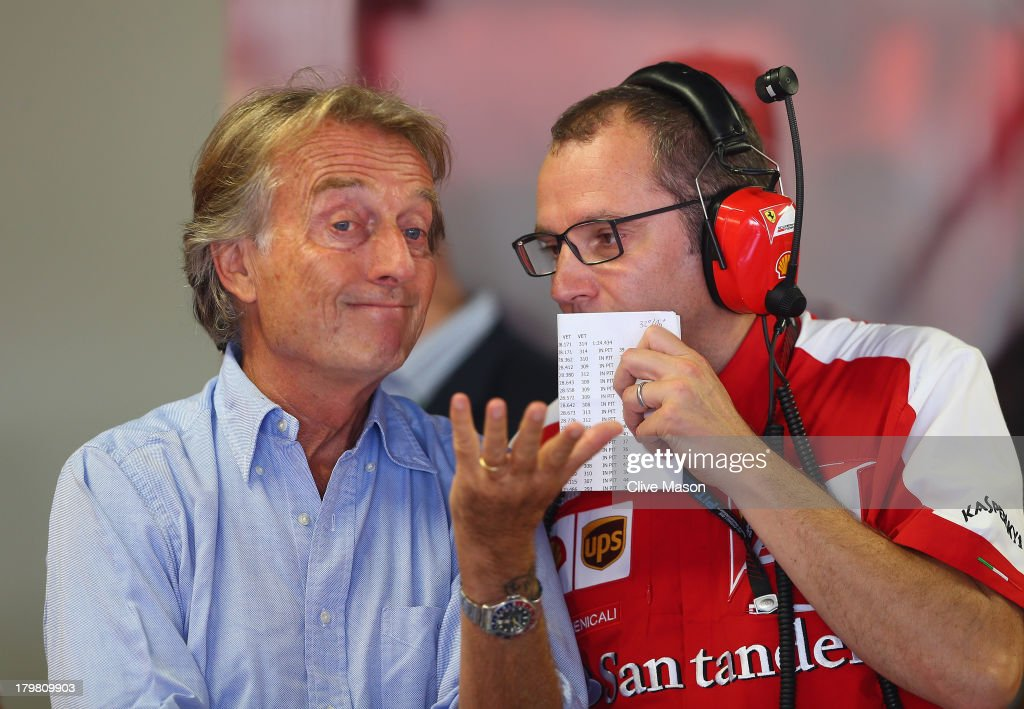 Ferrari Chairman <a gi-track='captionPersonalityLinkClicked' href=/galleries/search?phrase=Luca+Cordero+di+Montezemolo&family=editorial&specificpeople=236070 ng-click='$event.stopPropagation()'>Luca Cordero di Montezemolo</a> talks with Ferrari Team Principal <a gi-track='captionPersonalityLinkClicked' href=/galleries/search?phrase=Stefano+Domenicali&family=editorial&specificpeople=544864 ng-click='$event.stopPropagation()'>Stefano Domenicali</a> during the final practice session before qualifying for the Italian Formula One Grand Prix at Autodromo di Monza on September 7, 2013 in Monza, Italy.