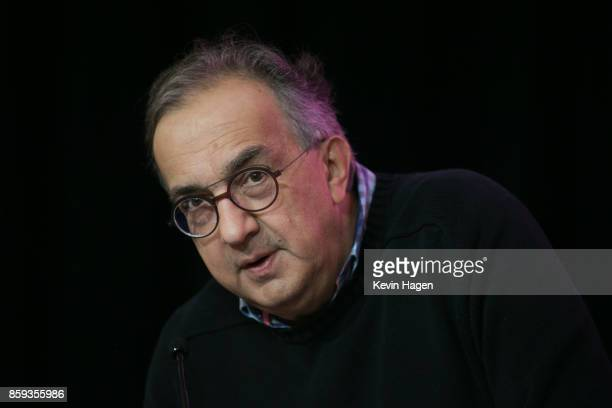 Ferrari Chairman Sergio Marchionne conducts a press briefing at the New York Stock Exchange on October 9 2017 in New York City Marchionne rang the...