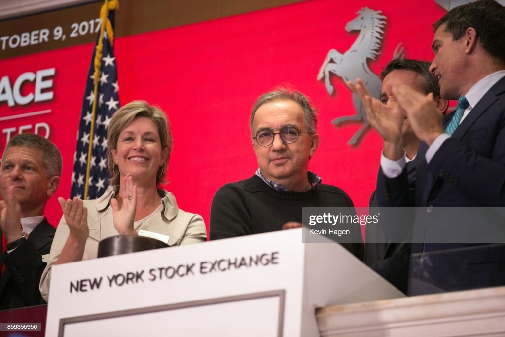 Ferrari Chairman Sergio Marchionne rings the opening bell, commemorating his company's 70th anniversary, at the New York Stock Exchange on October 9, 2017 in New York City.