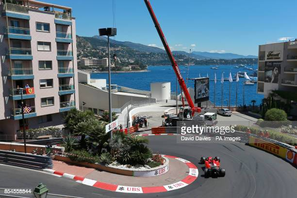 A Ferrari corners Loews Hairpin during Qualifying for the 2014 Monaco Grand Prix at the Circuit de Monaco Monte Carlo Monaco