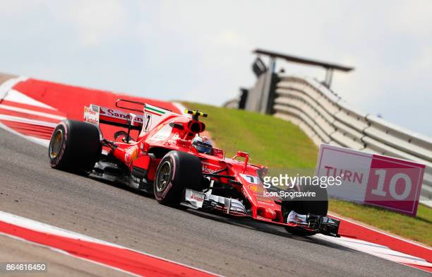 Ferrari driver Kimi Raikkonen of Finland during 2nd practice for the US Grand Prix on October 20 at Circuit of The Americas in Austin TX