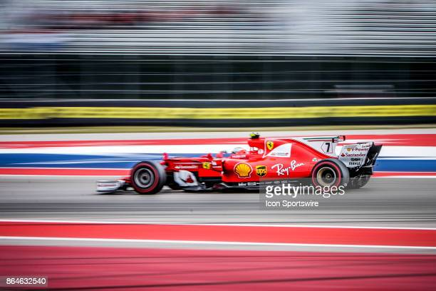 Ferrari driver Kimi Raikkonen of Finland races down straight during afternoon practice for the Formula 1 United States Grand Prix on October 20 at...