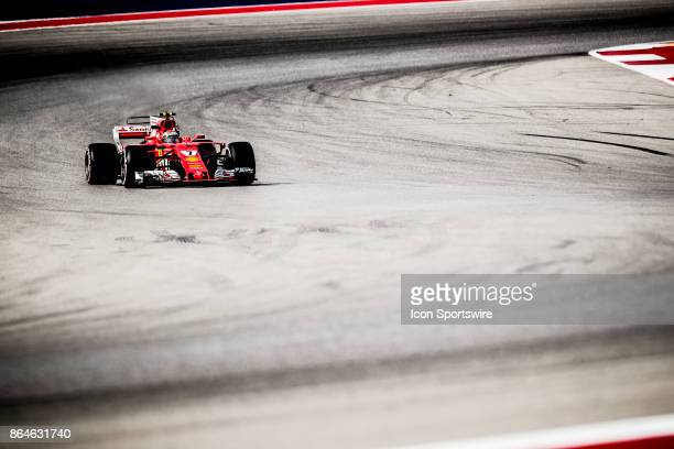 Ferrari driver Kimi Raikkonen of Finland races out of turn 12 during afternoon practice for the Formula 1 United States Grand Prix on October 20 at...