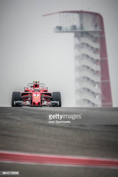 Ferrari driver Kimi Raikkonen of Finland races through turn 10 with COTA tower in background during morning practice for the Formula 1 United States...