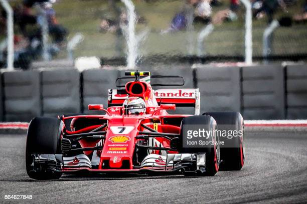 Ferrari driver Kimi Raikkonen of Finland races through turn 15 during afternoon practice for the Formula 1 United States Grand Prix on October 20 at...
