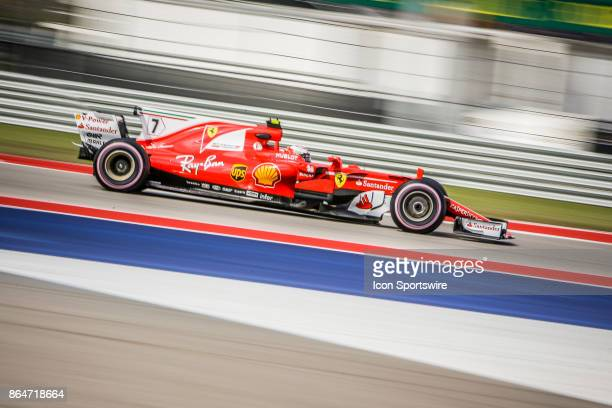 Ferrari driver Kimi Raikkonen of Finland races through turn 4 during morning practice for the Formula 1 United States Grand Prix on October 21 at the...