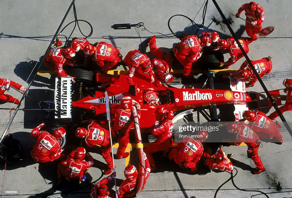 Ferrari driver Michael Schumacher of Germany in a pit stop during the Malaysian Formula One Grand Prix held on March 23, 2003 at the Sepang International Circuit, in Kuala Lumpur, Malaysia.