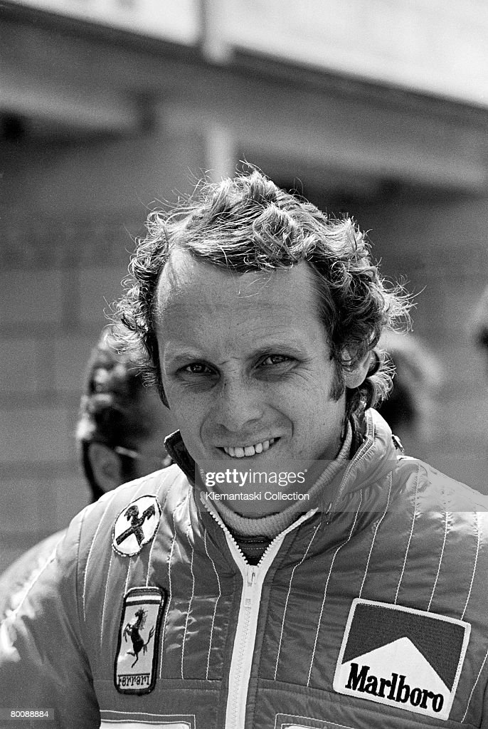 Ferrari driver Niki Lauda at the Dutch Grand Prix, Zandvoort, 22nd June 1975. He started from pole but finished one second behind James Hunt?s ever more competitive Hesketh.