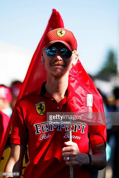 Ferrari fan arrives at the circuit for the Formula One Grand Prix of Italy at Autodromo di Monza on September 6 2015 in Monza Italy