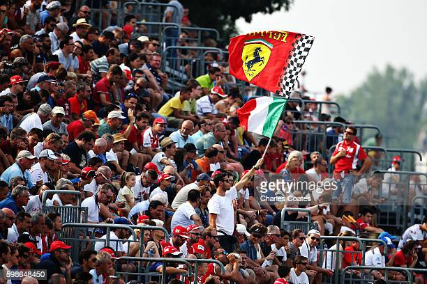 Ferrari fan waves a flag in the grandstand during practice for the Formula One Grand Prix of Italy at Autodromo di Monza on September 2 2016 in Monza...