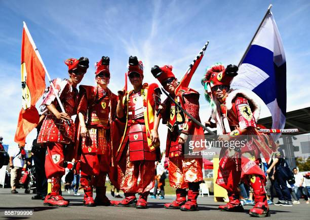 Ferrari fans dressed as Samurai show their support before the Formula One Grand Prix of Japan at Suzuka Circuit on October 8 2017 in Suzuka